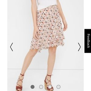 White House Black Market pink high low tier skirt